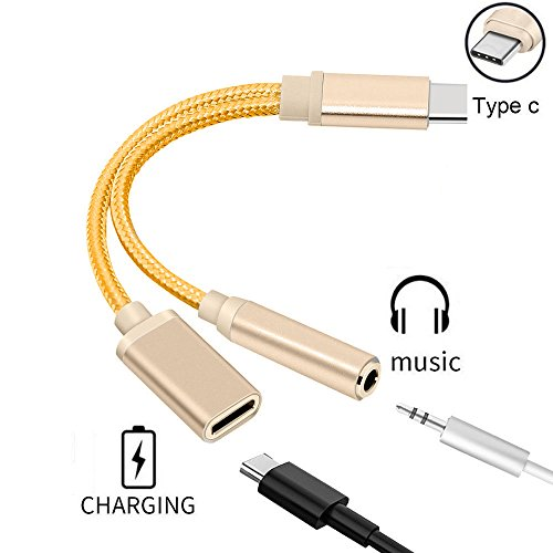 2 in 1 USB-C to 3.5mm Audio Adapter, Nylon Braided 2 in 1 USB Type C Cable Fast Charge to 3.5mm Audio Jack Headphone Adapter Converter Supports Audio and Charging for Motorola MotoZ, Letv Le Pro 3