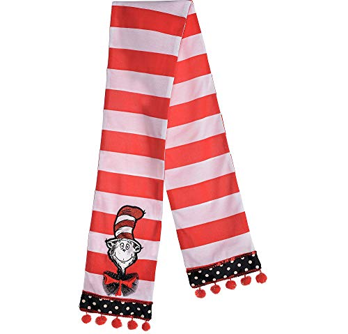 Costumes USA Cat in the Hat Scarf for Teens and Adults, Dr. Seuss Costume Accessories, One Size Fits Most]()