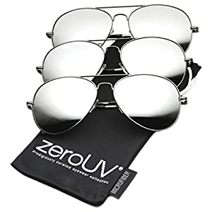 zeroUV - Premium Mirrored Aviator Top Gun Sunglasses w/ Spring Loaded Temples (3-Pack (Gunmetal))