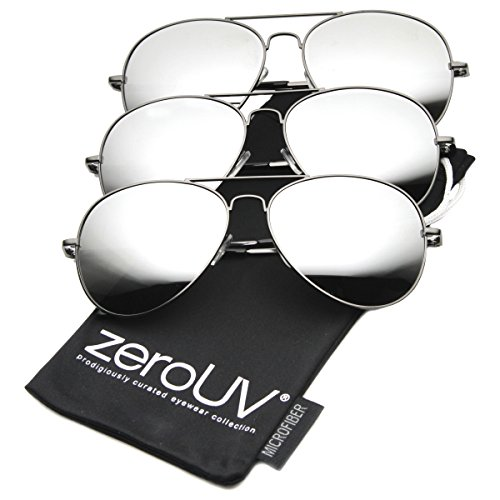 zeroUV - Premium Mirrored Aviator Top Gun Sunglasses w/ Spring Loaded Temples (3-Pack | - Aviators For Men
