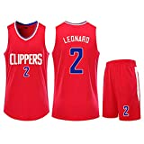 Kawhi Leonard No. 2 Basketball Jersey Set Fan Training Suit Limited Edition Custom, Fans Must, Best Gift, Starting, Men and Women, Comfortable-red-M