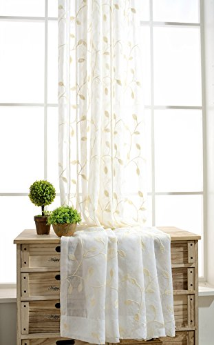 Beige Leaf Vine (WPKIRA 1 PC Rod Pocket Top Linen Sheer Fabric Voile Tulle Sheer Curtain Drape Window Panel Screen 63 84 96 inch Long Beige Leaves Vine Embroidered Living Room Window Treatment Panels, W55 x L96 inch)
