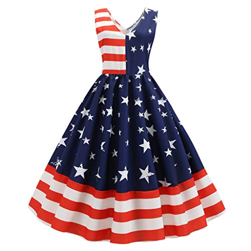 Womens V-Neck 50s Cocktail Dresses Vintage American Flag Tea Dress 4th July USA Patriotic Sexy Sleeveless Casual Swing Evening Party Mide Dress 1950s Halter Rockabilly Bridesmaid Audrey Dress