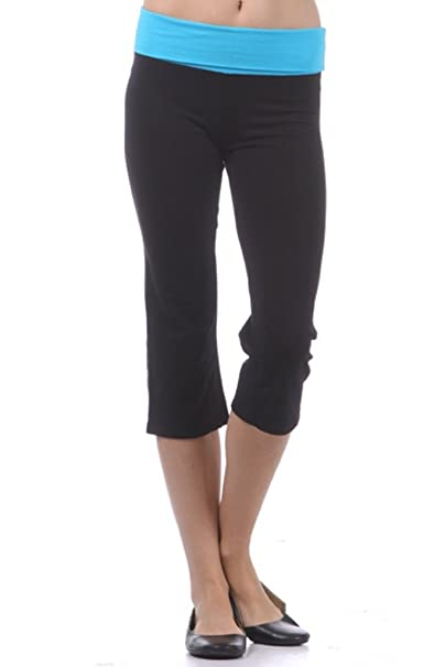 Stretch is Comfort Capri Yoga Pants with Contrast Color Fold Over Waist-6 Colors