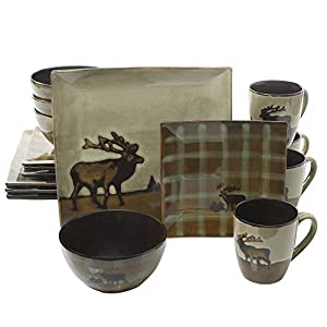 Better Homes and Gardens Roaming Elk 16-Piece Square Dinnerware Set, Brown by Better Homes & Gardens