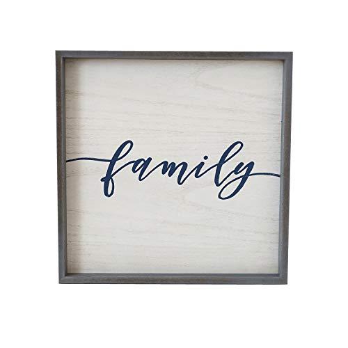 Paris Loft Rustic Solid Wood Family Script Sign Decor, 16x16'' Farmhouse Family Wood Framed Plank Wall Hanging Decor