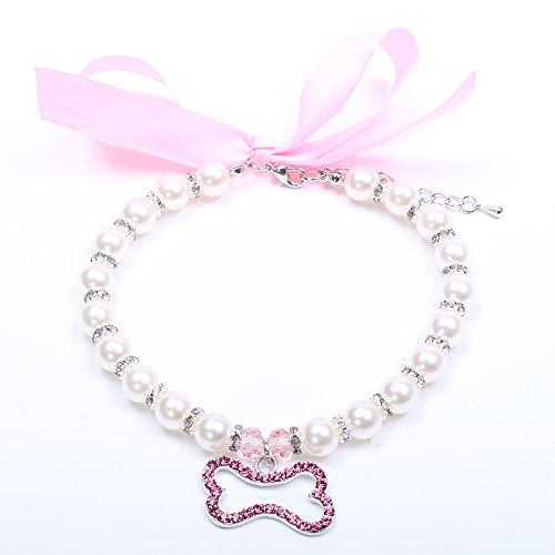 Dog Pet Pearls Necklace Collar Beling Accessories Ribbon Bone Charm Pet Puppy Jewelry For Female Puppy Chihuahua Yorkie Adjustable and Handmade (S, ()