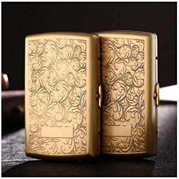 FHSY シガレットケース、超薄型ポータブル真鍮タバコケース、12ピース、金属彫刻銅パーソナリティクリエイティブタバコホルダー、タバコの箱 (Size : 12 packs)