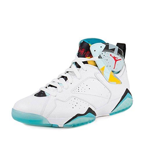 Nike Mens Air Jordan 7 Retro N7 White/Ice Blue-Dark Turquoise Leather Size 11.5 (Nike Air Jordan 7 Vii Retro 2015)