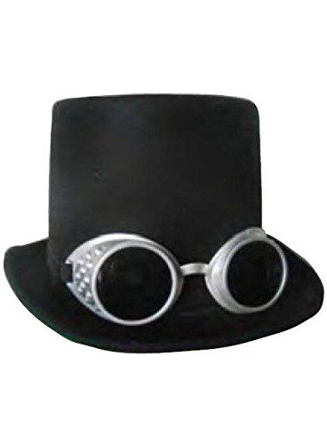 Steampunk Black Top Hat with Silver Goggles