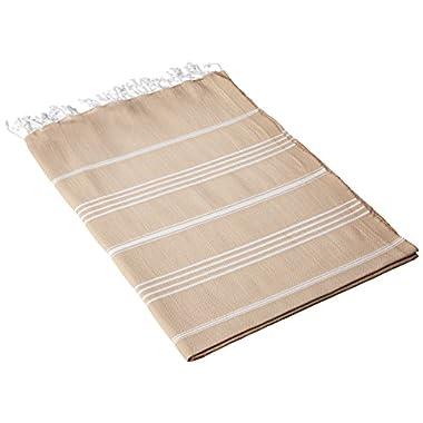 Cacala 100% Cotton Pestemal Turkish Bath Towel, 37 x 70 , Beige