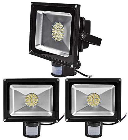 ALPHA DIMA 3pcs Foco LED 50W con Sensor de Movimiento,smd LED Luz de Inundación