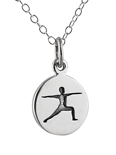(Sterling Silver Tiny Etched Yoga Warrior Pose Tag Charm Pendant Necklace, 18 Inch)