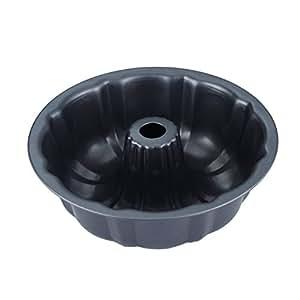 CENZ Teflon Nonstick Round Fluted Tube Cake Pan, Bundt Pan, 9.5 inchesX2.8 inches, Dark Grey