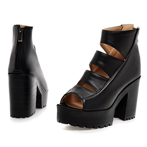 COOLCEPT Damen Mode Ankle Sandalen Open Toe Blockabsatzs Schuhe Mit Zipper Schwarz