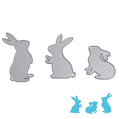 Bottone 3X Rabbit Metal Cutting Dies Stencils Scrapbooking Embossing Album Paper Card Craft DIY Gift