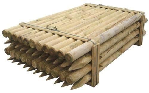 Pali in legno per recinzione tondi con punta trattati impregnati staccionata//steccato Palo Tondo /Ø CM 10 altezza CM 150 H NEXTRADEITALIA Confezione da 10PZ