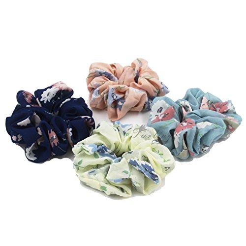 Susulu Set of 4pcs Womens Chiffon Flower Hair Scrunchies Chiffon Ponytail Holder (Mix Colors)