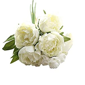 MARJON FlowersNew Artificial Flowers Fake Peony Bouquet Floral Wedding Cemetery Bouquet Party Festival Office Table Home Decoration Perfect for Outdoors Crafts 62