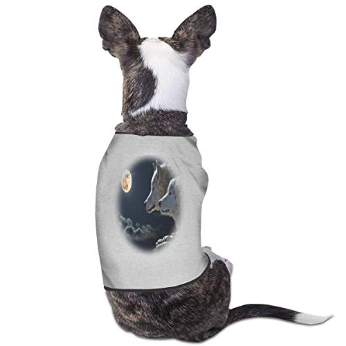 2 Wolf Moon Pet Cat Dog T-Shirt Gray Warm Vest Breathable Soft Pet Clothing S