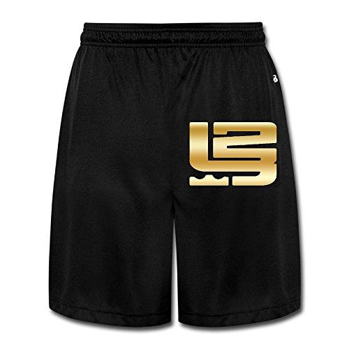 Men's LeBron Gold Logo Sweatpants Shorts Black ()
