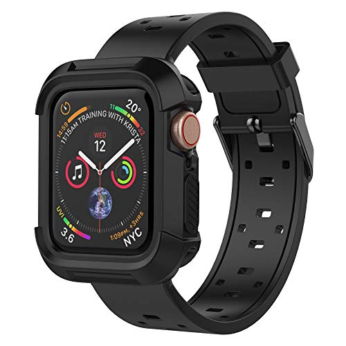 UMTELE Compatible for Apple Watch 4 Case with Band 40mm, Shock Proof Bumper Case with Soft Silicone Sport Band Compatible with Apple Watch Series 4(Black,40mm)