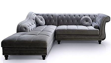 Phenomenal Chesterfield London Silver Straight Corner Sofa Velvet Inzonedesignstudio Interior Chair Design Inzonedesignstudiocom