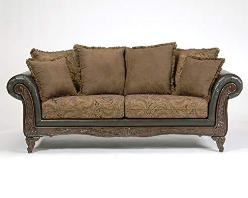 Roundhill Furniture San Marino 2-Tone Fabric Sofa, Chocolate