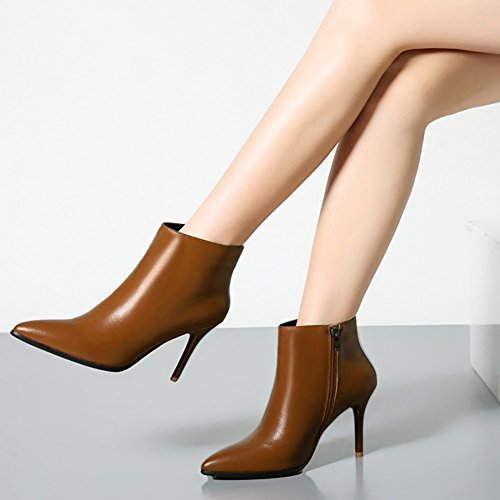 Classic Booties Ankle Heels Brown Pointed Zipper High Leather Boots VOCOSI Women's Toe qRzRPA