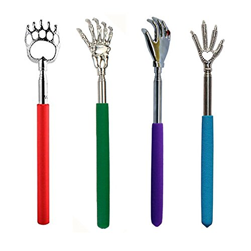 (Portable Extendable Telescopic Bear Claw / Eagle Claw /Palm/Ghost Metal Back Scratchers /hand massager/backslap With Rubber Handles- (Random color) (4pcs-Different shapes) )