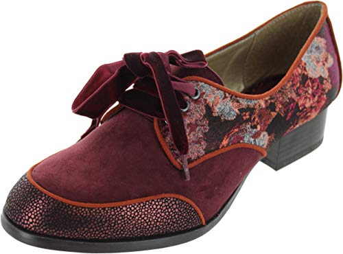 Red Red Shoo Micah Low Bordeaux Heel Brogue Lace Ruby up Women's Bordeaux wHIqgq