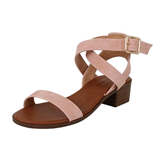 TOP Moda Women's Vision-75 Ankle Strap Open Toe Heeled Sandal Light Blush 10