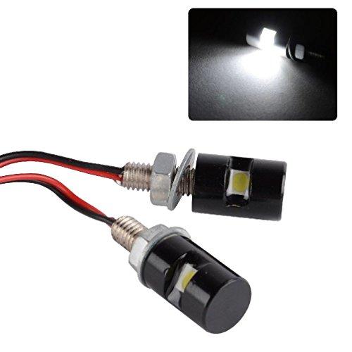 Plate Stereo Tube (2X White LED SMD Motorcycle&Car License Plate Stud Screw Bolt Light lamp bulb)