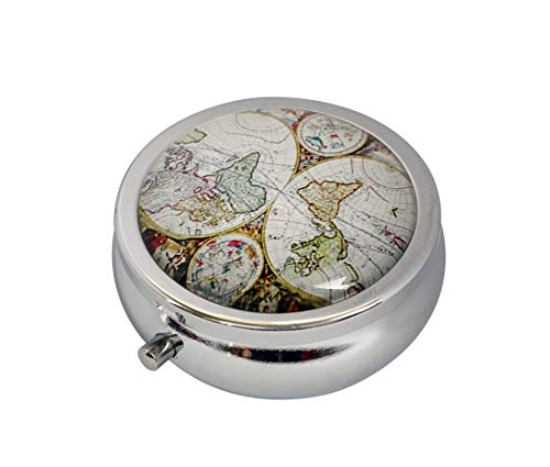 COWGOGO Antique World Map Custom Design Fashion Silver Round Glass Pill Case Decorative Metal Pill Box