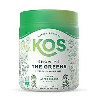 KOS Organic Greens Blend - Refreshing Green Apple Sorbet Flavor - Super Greens Powder - Immune Support, Aides Digestion, Alkalizing Formula - Spirulina, Wheatgrass, Chlorella - 30 Servings