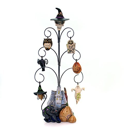 Jim Shore Heartwood Creek Spooky Halloween Tree with 6 Mini Ornaments -