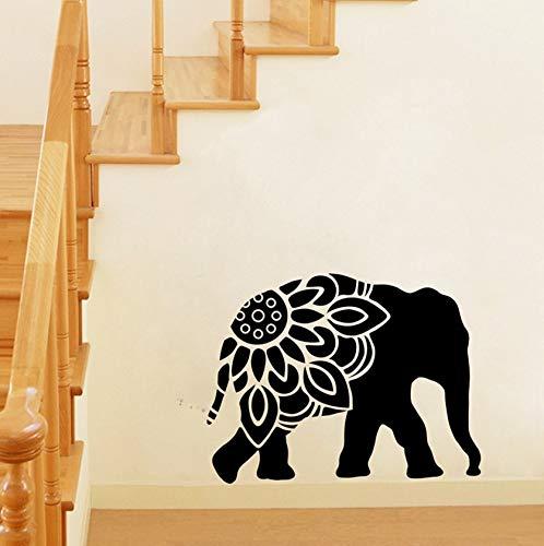 Dalxsh Elephant Mandala Silhouette Vinyl Wall Art Sticker Animal Elephant Clipart Wall Decals Home Room Stickers Mural Wall Decor 50X38Cm ()