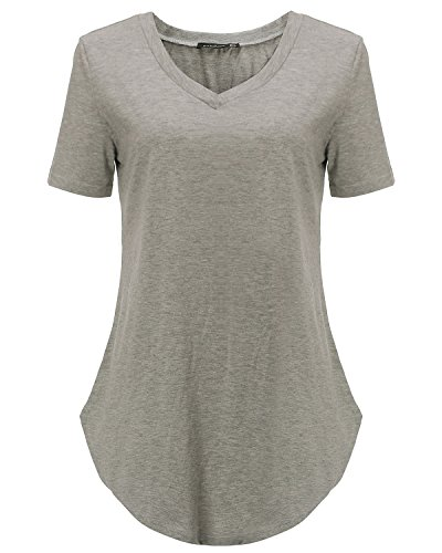 StyleDome Women V Neck Casual Blouse Shirts Short Sleeve Asymmetrical Hem Solid Plain Long Tee Tops Grey US 18 by StyleDome (Image #3)