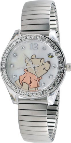 New Watch DISNEY WINNIE THE POOH LADIES WP2717 MOP DIAL SILVER-TONE EXPANSION STRAP WATCH