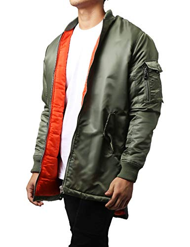 (Ma Croix Mens Longline Bomber Jacket Casual Urban Hip Hop Quilted Zip Up)