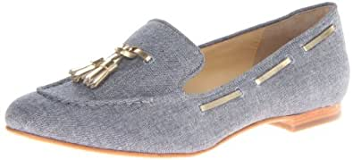 Cole Haan Women's Sabrina Laced Slip-On Loafer,Chambray/Gold Specchio,5 B US