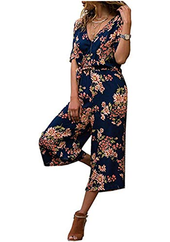 Women's Loose Floral Print Short Sleeve V Neck Jumpsuits Summer Lace Belt Cropped Pants Rompers by Gyouanime Dark Blue