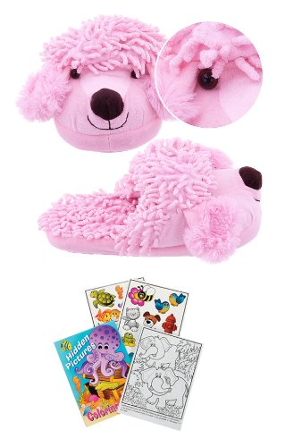 Kreative Kids 2313 Small Fuzzy Poodle Slippers Kids Size 11-12 + Free Activity Book