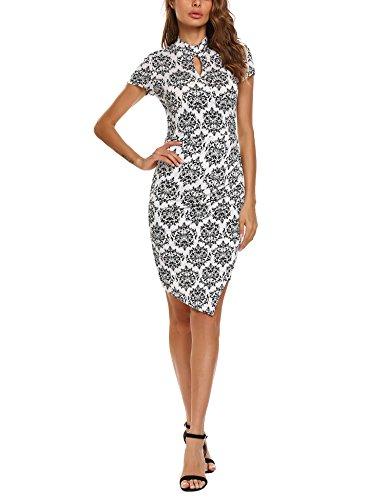 63ee03b97af6 ACEVOG Damen Elegant Etuikleid Festliche Kleider Business Bodycon Knielang  Kurzarm Partykleid Sommerkleid Weiß i9F3L7O0U