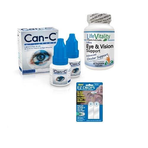Can-C Eye Drops, Life Vitality Ultra Eye & Vision Support, EZ Drops Bundle Deal - Eye Cataract Drops