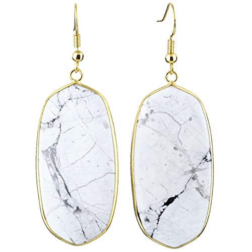 TUMBEELLUWA Crystal Quartz Stone Dangle Hook Earrings Oval Gold Plated, White Howlite Turquoise -