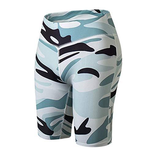 iHPH7 Yoga Leggings Capri Leggings Women's Fitness Yoga Shorts Night Running Sports Training Quick-Drying Tight-Fitting Pants (L,White)]()