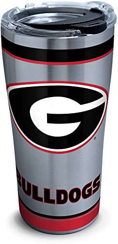 Tervis 1297300 NCAA Georgia Bulldogs Tradition Stainless Steel Tumbler with Lid, 20 oz, Silver ()