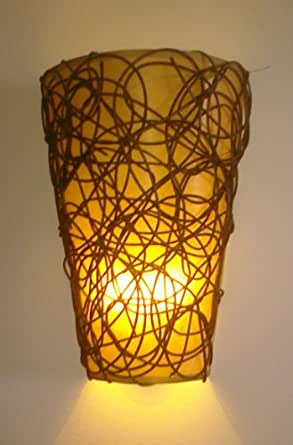 Battery Operated Wall Sconce - Wicker Style with Remote
