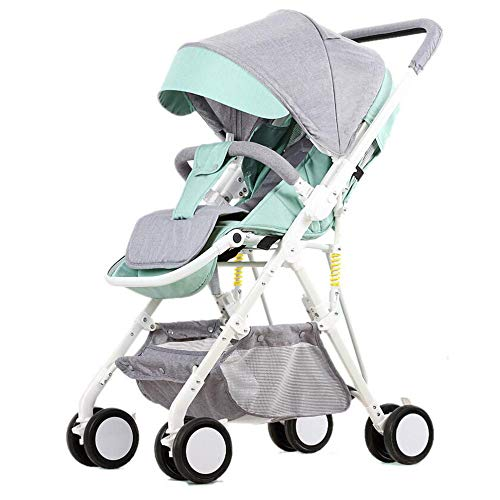 Baby Stroller Lightweight Fold Trolley 5-Point Safety SystemHigh Landscape Pushchair-for Newborn and Toddler,B